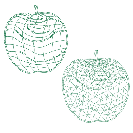 set of mosaic apples. for coloring and design. isolated. easy to modify on a white background