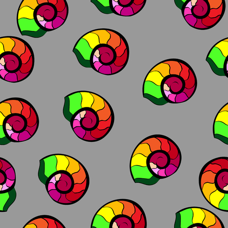 texture cloth: Colorful snails horns. Repeating print background texture. Cloth design. Wallpaper, wrapping Illustration