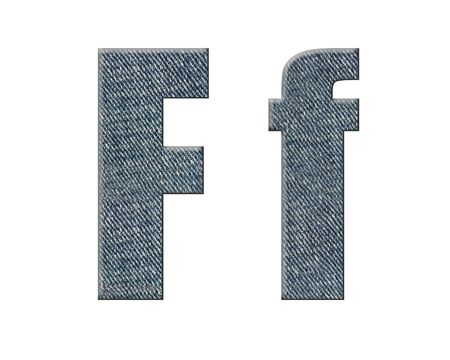 Jeans english and  german abc. Letter  F