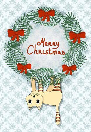cat hanging on christmas wreath. Christmas cartoon illustration