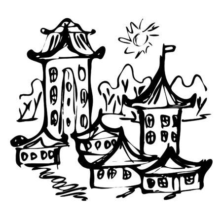 chinese castle sketch, vector illustration Illusztráció
