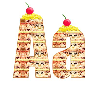 biscuit cake font abc, alphabet. cherry on the cake
