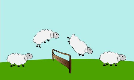 Farm animals. Sheep Jump Over Fence. Count sheep. Vector