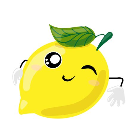 Fruit characters. Smiling cute kawaii yellow lemon reclining winking and smiling. Cartoon Character rests hand wall . Vector Illustration