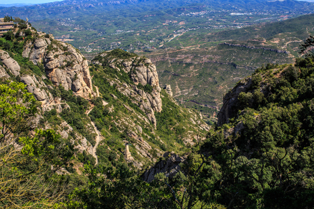The Mountain of Montserrat (Catalonia, Spain). Montserrat mountains and Benedictine monastery of Santa Maria de Montserrat. Stock Photo