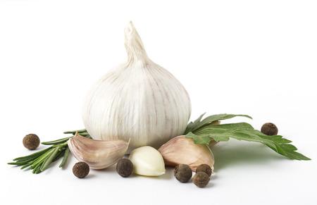 Fresh garlic isolated on white background. Raw garlic