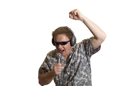 energetically: Man sing the song and gesticulate Stock Photo