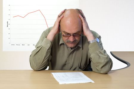 project manager look at the financial account photo