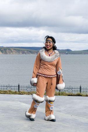 eskimo woman: Smiling chukchi woman in the folk clothes
