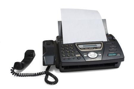Faxgerät isoliert auf Weiß  Standard-Bild