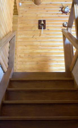 Wooden staircase in the homestead Stock Photo