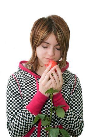 pensiveness: Giovane ragazza di sognare la rosa profumata  Archivio Fotografico