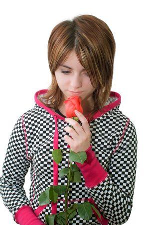 sorrowful: Young sorrowful girl with rose
