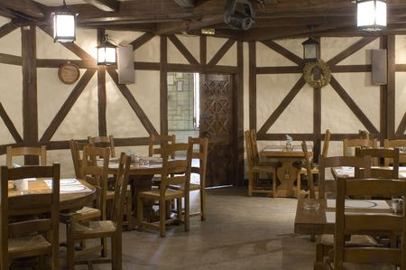 Restaurant interior stylized in country style