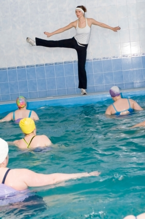 Aerobics training in the swimmimg pool