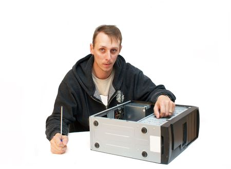 Technician repairing PC isolated on white Stock Photo - 3629587