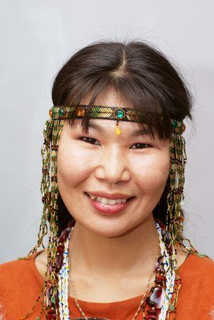 Beautiful chukchi woman in the folk dress