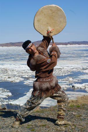 Chukchi man dancing a folk dance