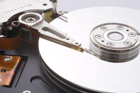 disassembled: Disassembled hard disc driver closeup