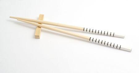 Sushi set (chopsticks) isolated on white background Stock Photo