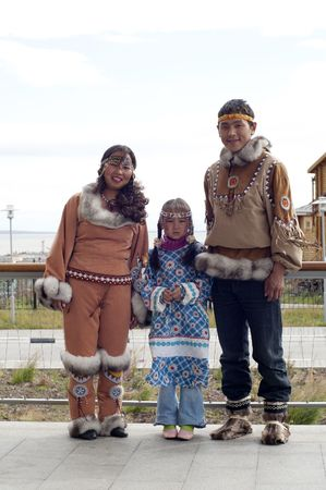 Chukchi family in folk suits