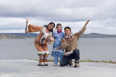 Chukchi family in folk dress