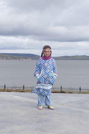 Chukchi girl in folk dress Stock Photo
