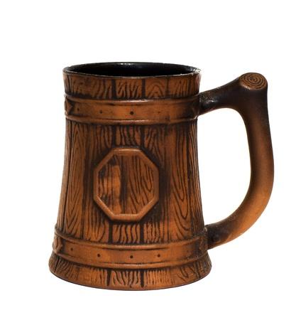 Ceramic beer mug isolated on white background