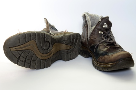 old shoes: Old battered boots