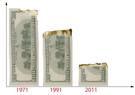 money to burn: The chart illustrated the decline of dollars buying power