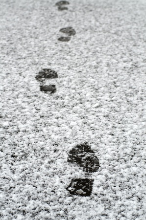 Footprints on the wet snow photo