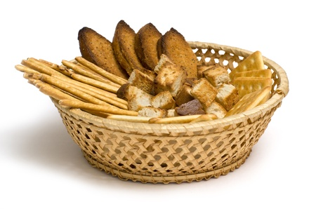 Several kinds of bread in wicker basket Stock Photo - 10978031