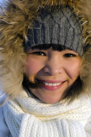 Portrait of young beautiful chukchi woman
