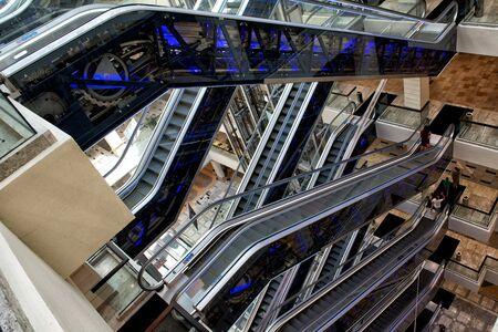 Escalators in the mall in Voronezh, Russia