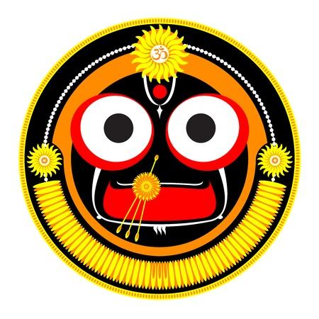 hindu god: Ilustraci�n vectorial de dios hind� Shri Jagannath Vectores