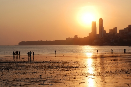 north   end: Chowpatty Beach, South Mumbai, the North end of the Marine Drive