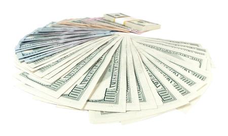 cash money: Gran suma de US dólares aislados en blanco