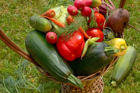 wicker basket: Fresh vegetables in wicker basket