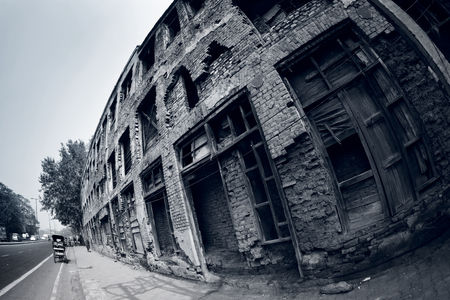 mahatma: Abandoned building on Mahatma Gandhi Marg. Majnu Ka Tilla, Delhi, India
