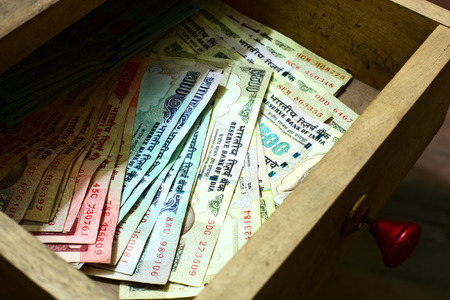 rupee: Indian rupees in table drawer