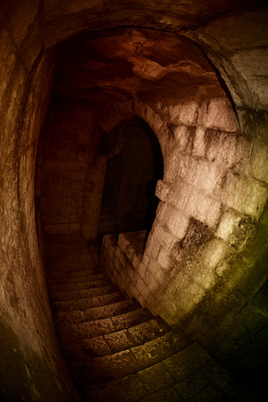 castle: Stone stairway to the darkness of dungeon