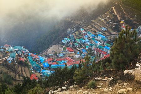 tibetan house: View of himalayan mountain village Namche Bazaar. Solukhumbu District, Sagarmatha National Park, Nepal