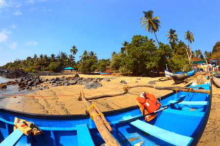 lifevest: Picturesque fishing boats on Patnem beach in Goa Stock Photo