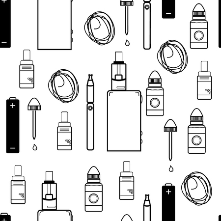 electronic cigarette: seamless pattern with elements for electronic cigarette