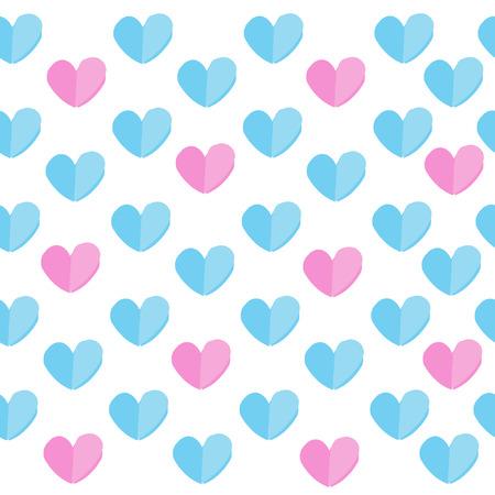 블루와 핑크 하트와 원활한 패턴