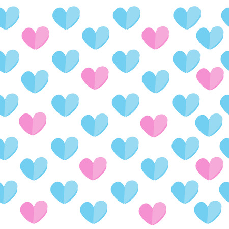 Seamless pattern with blue and pink hearts