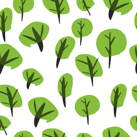 Seamless background pattern with summer trees