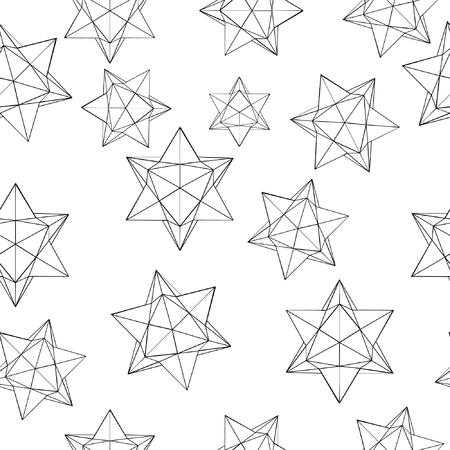 Seamless geometric pattern. Isolated black elements on white backround