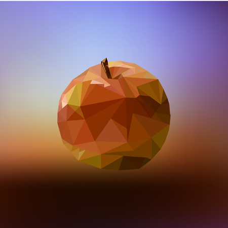 red apple in style low poly on colorful background