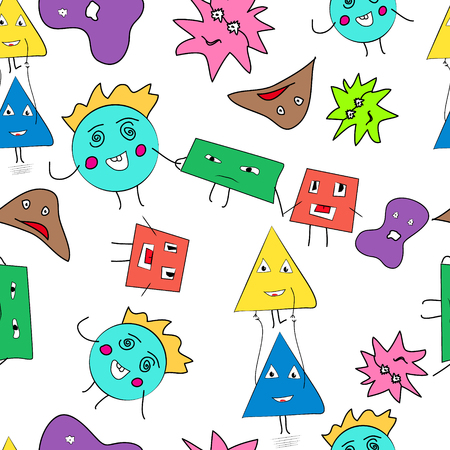 personages: Seamless background pattern with cartoon personages
